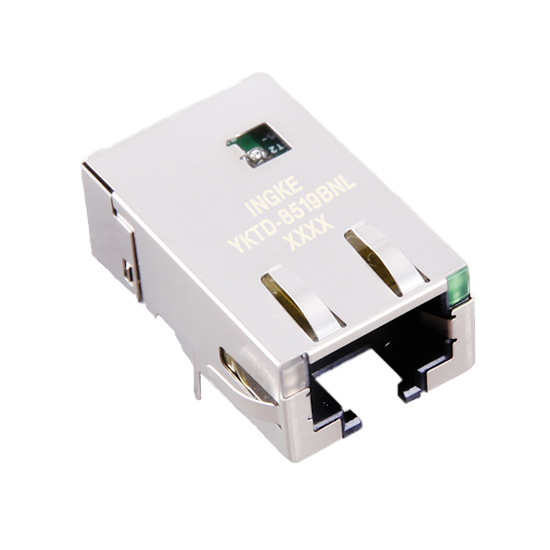 10G Base-T Single Port Tab Down RJ45 Magjack Connector