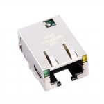 10G Base-T Tab Down RJ45 Magjack Connector with LED