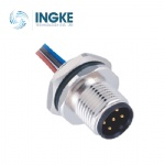 M12 Circular Connector Male Panel Rear Mounting Plug with Electronic Wire